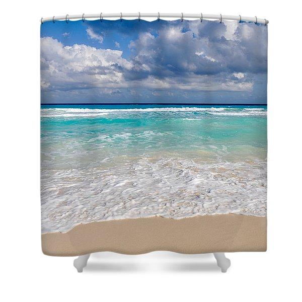 Beautiful Beach Ocean In Cancun Mexico Shower Curtain