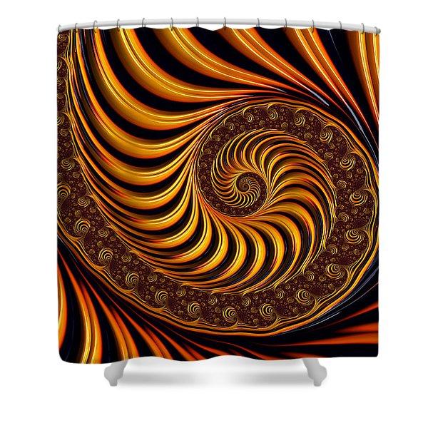 Beautiful Golden Fractal Spiral Artwork  Shower Curtain