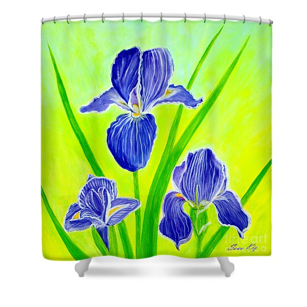 Beautiful Iris Flowers Card Shower Curtain