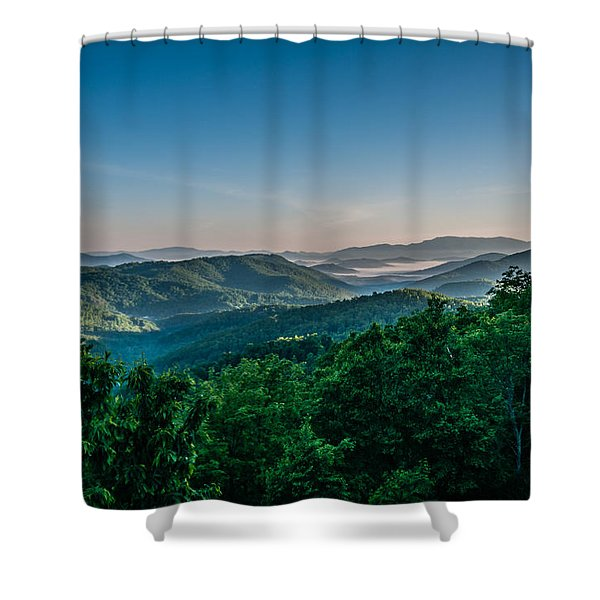 Shower Curtain featuring the photograph Beautiful Scenery From Crowders Mountain In North Carolina by Alex Grichenko