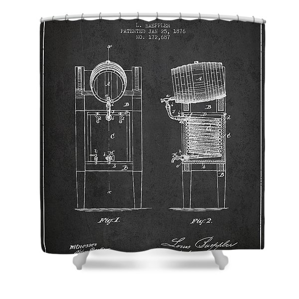 Beer Cooler Patent Drawing From 1876 - Dark Shower Curtain