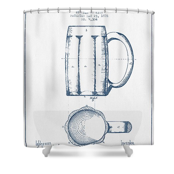 Beer Mug Patent From 1876 -  Blue Ink Shower Curtain