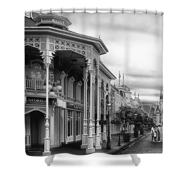 Before The Gates Open In Black And White Walt Disney World Shower Curtain