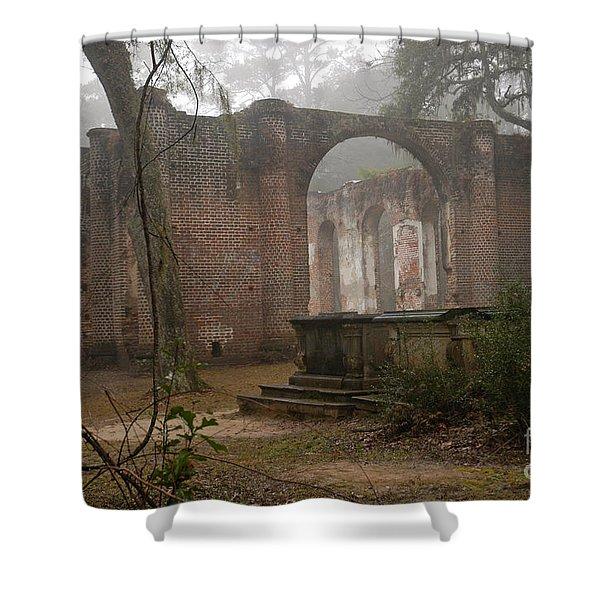 Behind Old Sheldon Church Shower Curtain