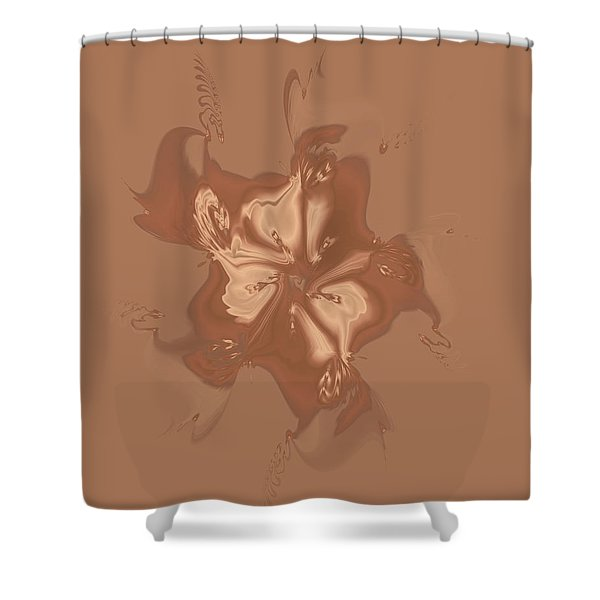 Beige Satin Morning Glory Shower Curtain