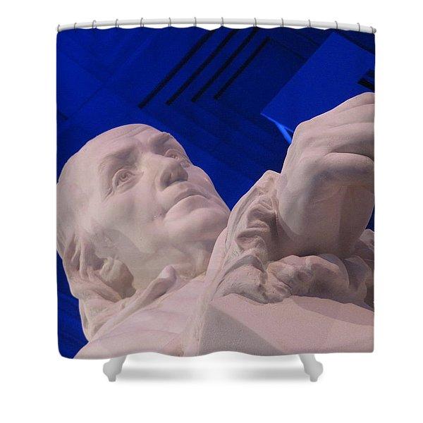 Ben Franklin In Blue I Shower Curtain