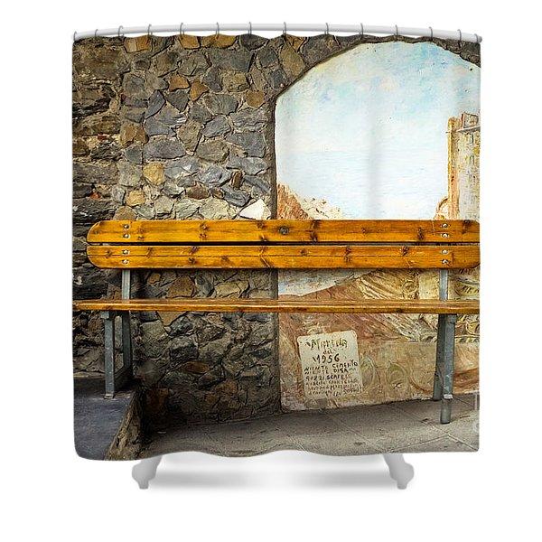 Bench In Riomaggiore Shower Curtain