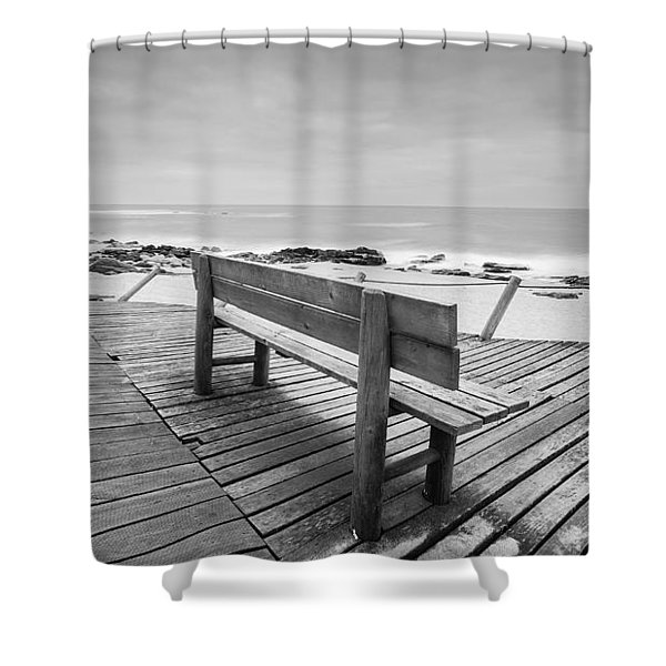 Bench With Swirl Shower Curtain