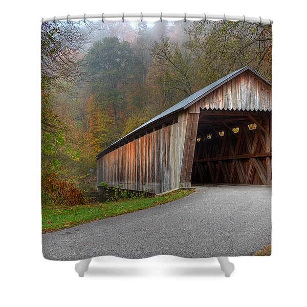 Bennett Mill Covered Bridge Shower Curtain