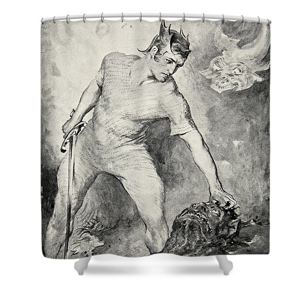 Beowulf Shears Off The Head Of Grendel Shower Curtain