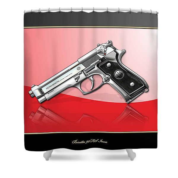 Beretta 92fs Inox Over Red And Black Shower Curtain