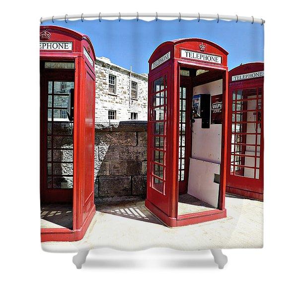 Bermuda Phone Boxes 2 Shower Curtain