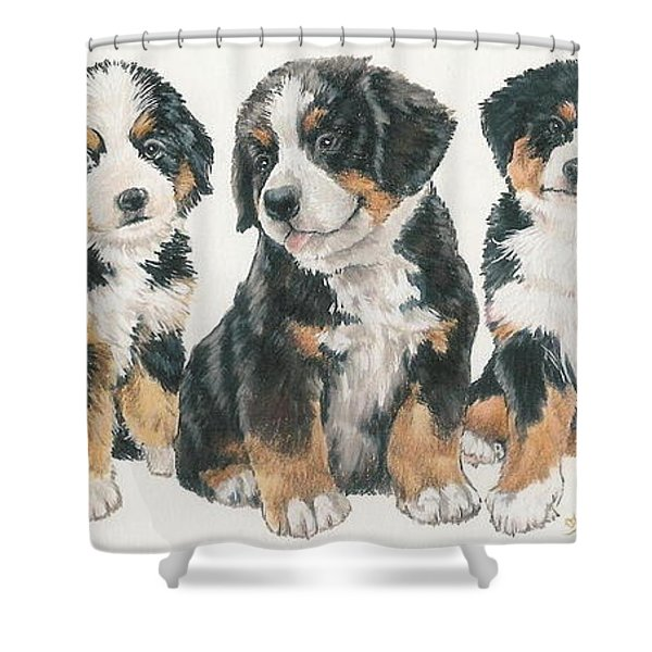 Bernese Mountain Dog Puppies Shower Curtain