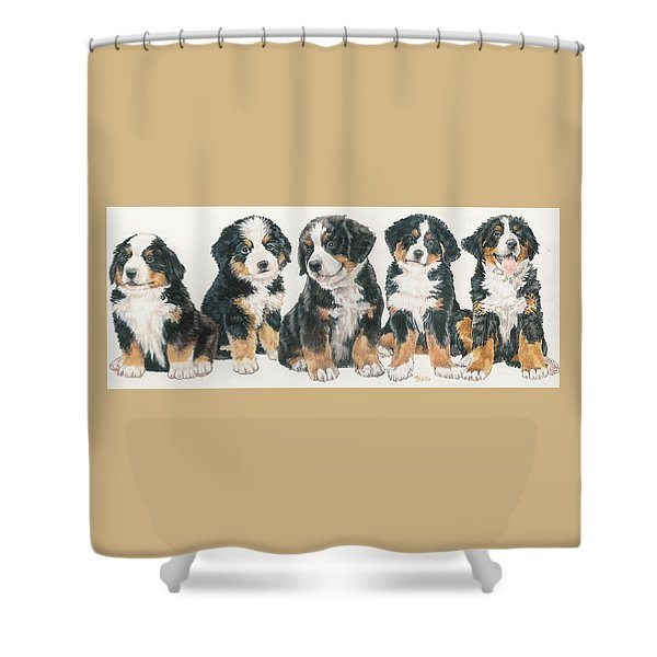 Shower Curtain featuring the mixed media Bernese Mountain Dog Puppies by Barbara Keith