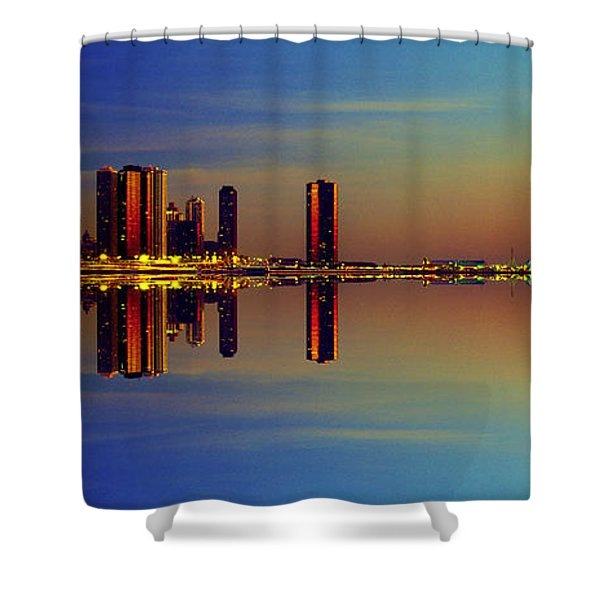 Between Night And Day Chicago Skyline Mirrored Shower Curtain