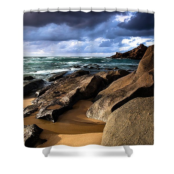 Between Rocks And Water Shower Curtain