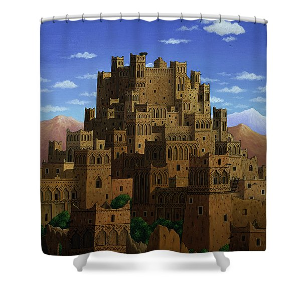 Beyond The Valley Of The Kasbahs, 1993 Acrylic On Linen Shower Curtain