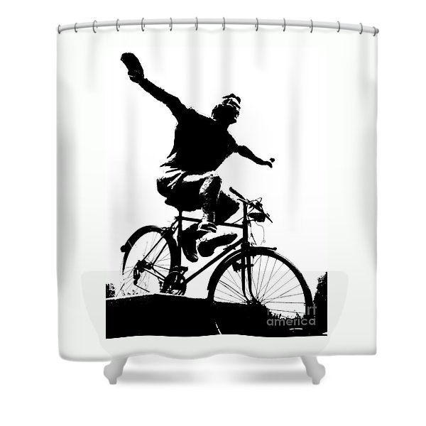Bicycle - Black And White Pixels Shower Curtain