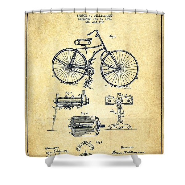Bicycle Patent Drawing From 1891 - Vintage Shower Curtain