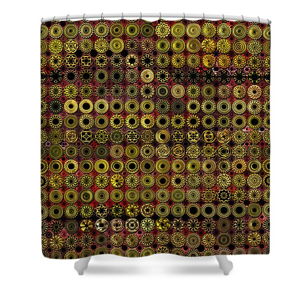 Biding Time In The Gold Flocked Basement Twixt Death And Funeral Shower Curtain