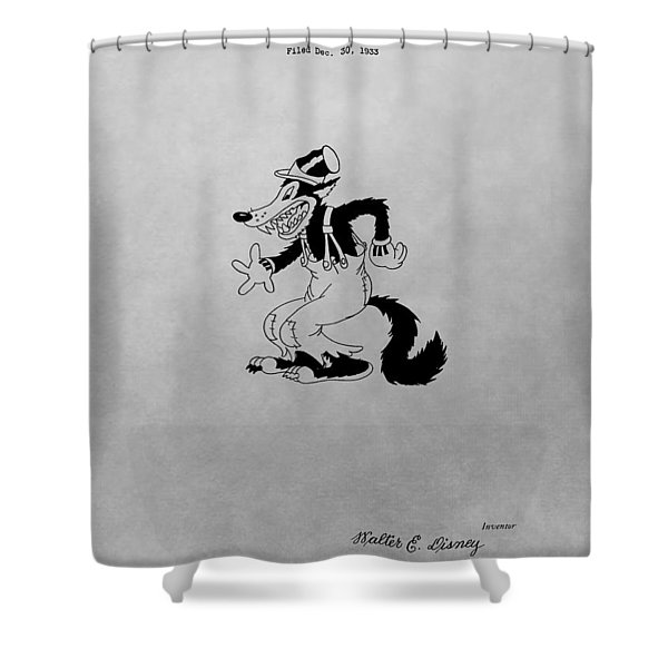 Big Bad Wolf Disney Patent Drawing Shower Curtain