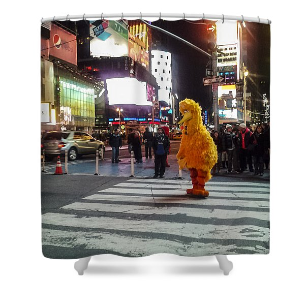 Big Bird On Times Square Shower Curtain
