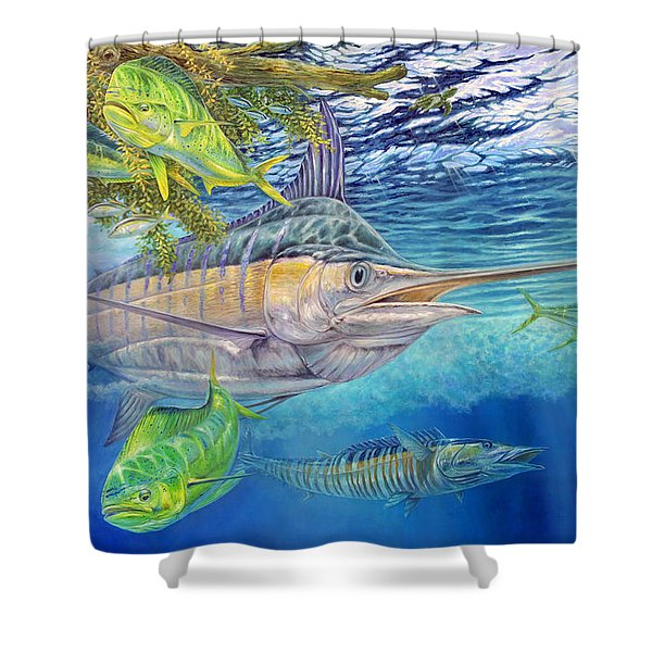 Big Blue Hunting In The Weeds Shower Curtain