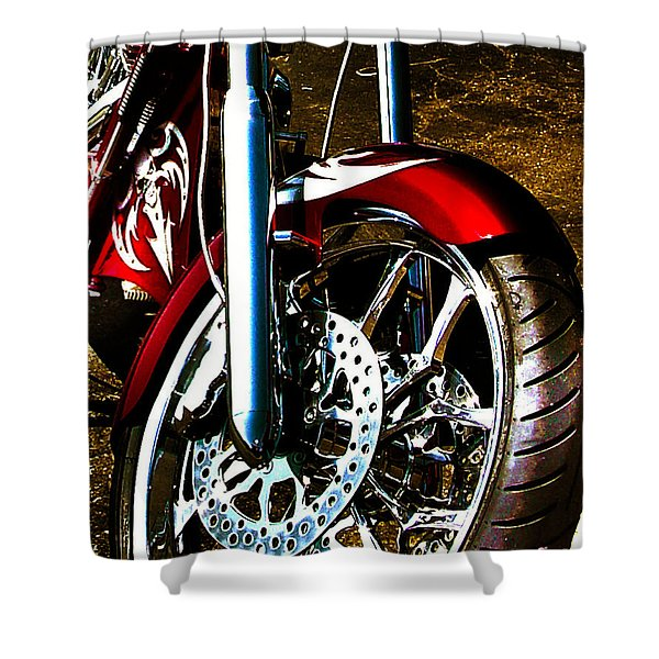Big Dog Motorcycle Chrome Tire Shower Curtain
