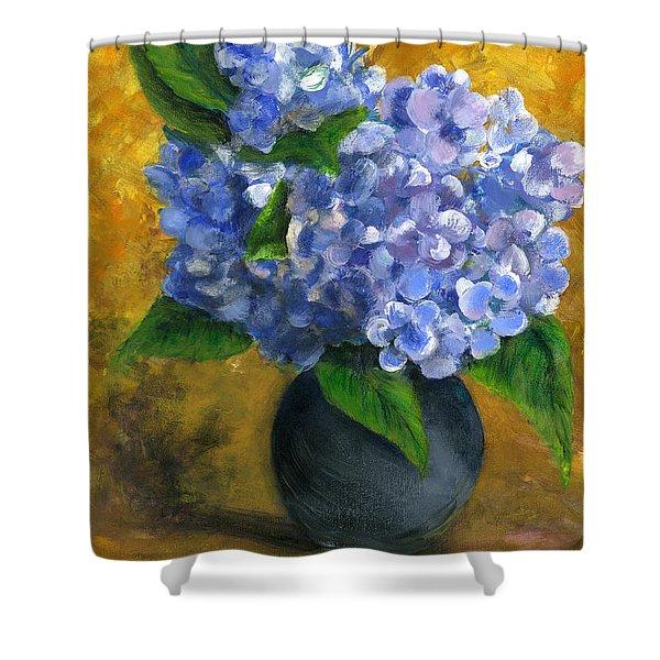Big Hydrangeas In Little Black Vase Shower Curtain