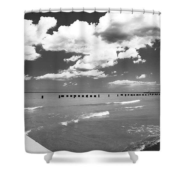 Big Lake Clouds Black White Shower Curtain