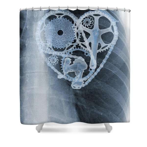 Shower Curtain featuring the painting bike lover X-ray by Sassan Filsoof