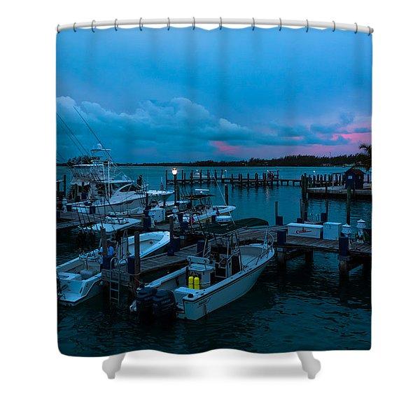 Bimini Big Game Club Docks After Sundown Shower Curtain