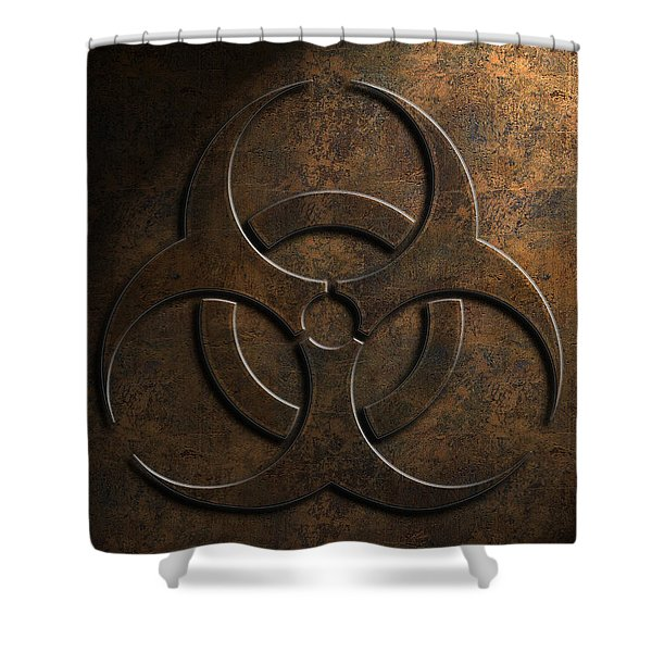 Biohazard Symbol Stone Texture Shower Curtain
