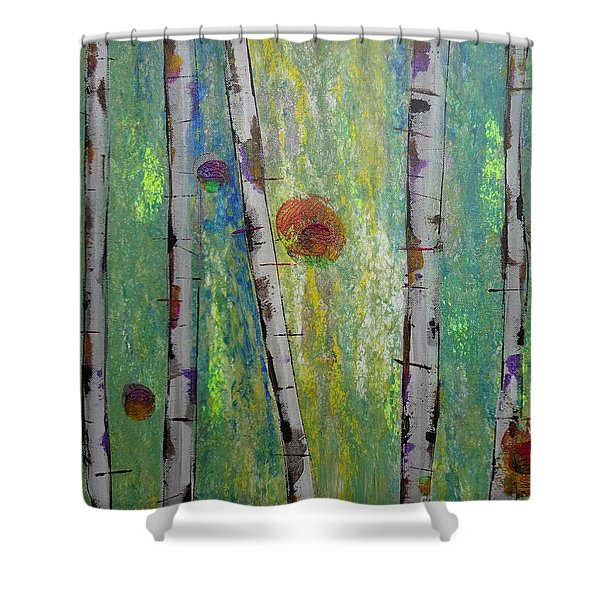 Birch - Lt. Green 5 Shower Curtain