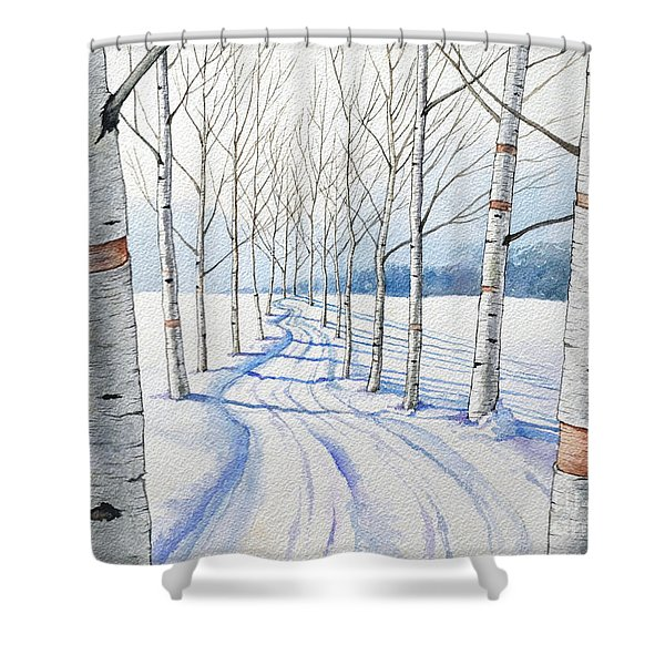 Birch Trees Along The Curvy Road Shower Curtain