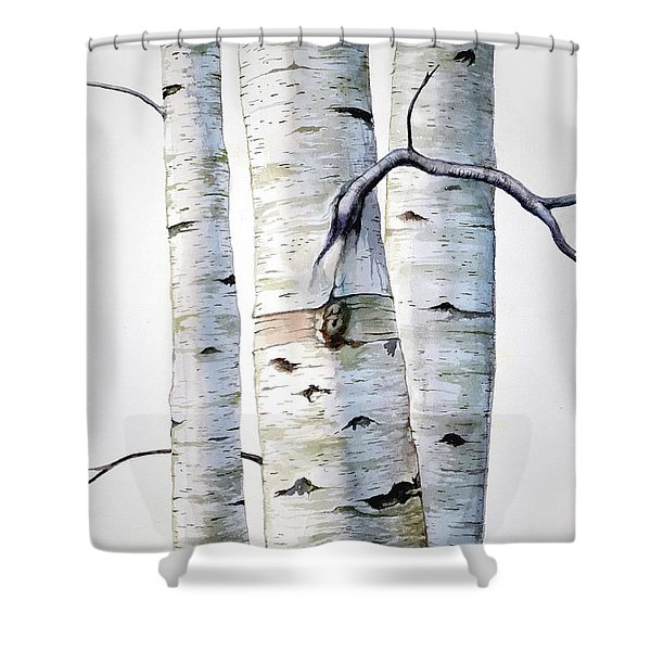 Birch Trees In Watercolor Shower Curtain