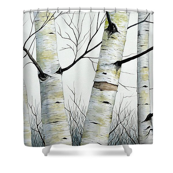 Birch Trees In The Forest In Watercolor Shower Curtain