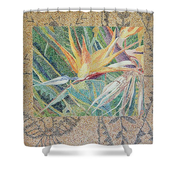 Bird Of Paradise With Tapa Cloth Shower Curtain