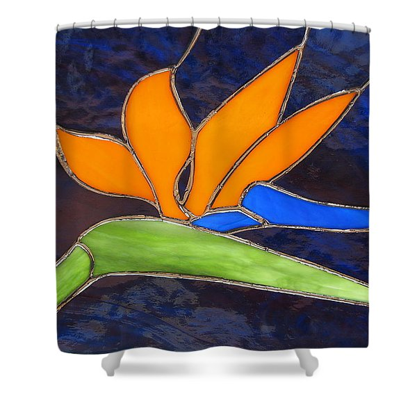 Shower Curtain featuring the glass art Bird Of Paridise by Karin Thue
