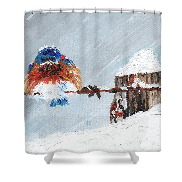 Bird On Barb Wire Fence Shower Curtain