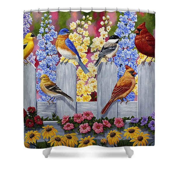 Bird Painting - Spring Garden Party Shower Curtain