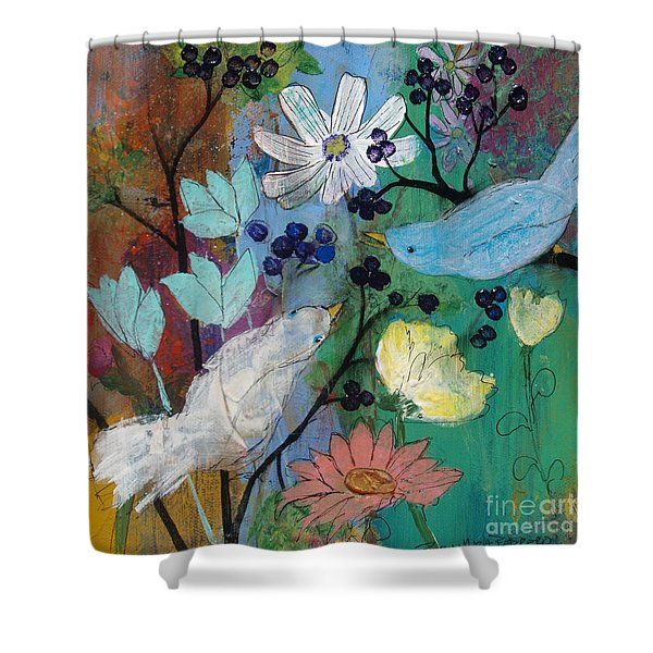 Birds And Berries Shower Curtain