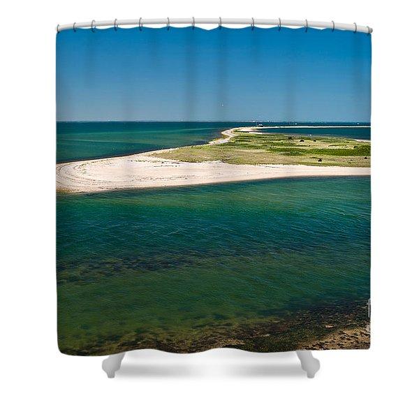 Birds Eye View Cape Poge Elbow Chappaquiddick Island Marthas Vineyard Shower Curtain