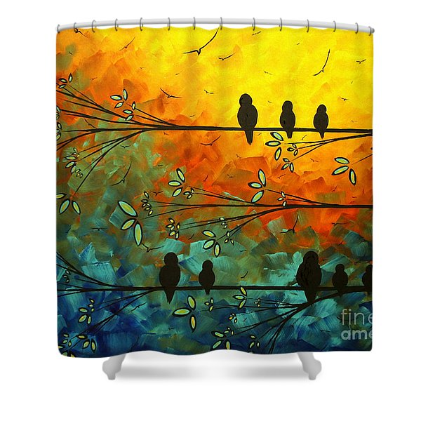 Birds Of A Feather Original Whimsical Painting Shower Curtain
