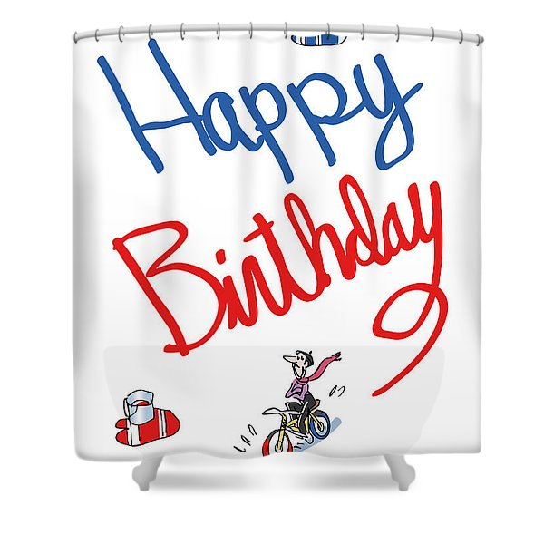 Birthday Bicycle Painter Shower Curtain
