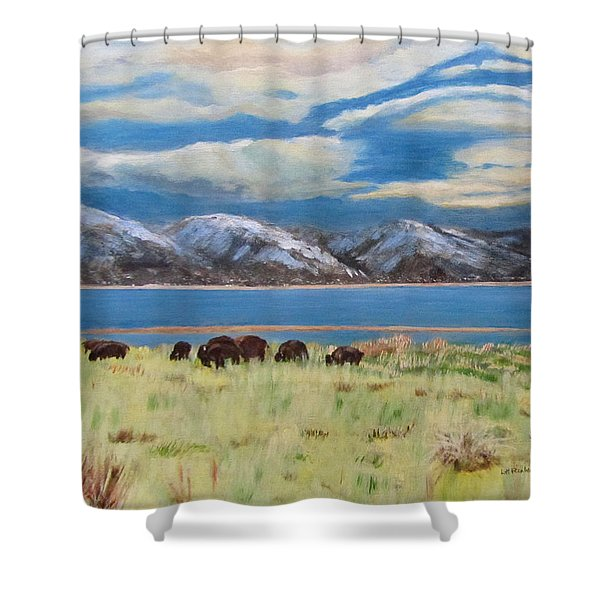Bison On Antelope Island Shower Curtain