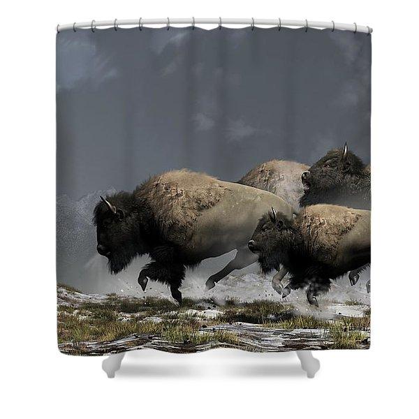 Bison Stampede Shower Curtain