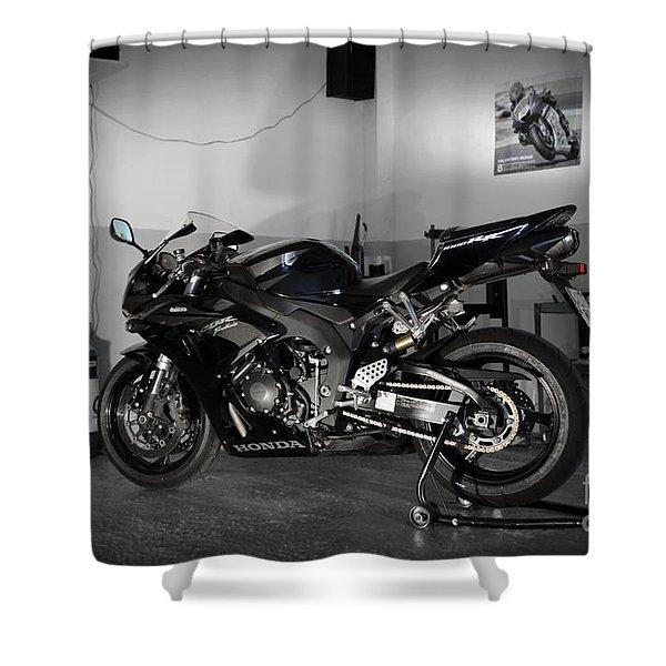 Black 2007 Honda Cbr1000rr Shower Curtain