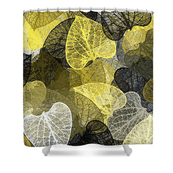 Black And Gold Leaf Pattern Shower Curtain
