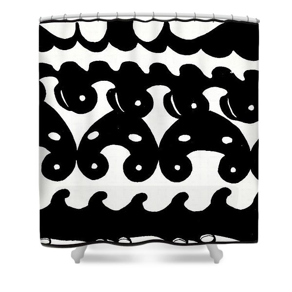 Black And White Design - Original Gouache Painting Shower Curtain